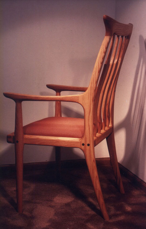 Oak captains upholstered dining chair