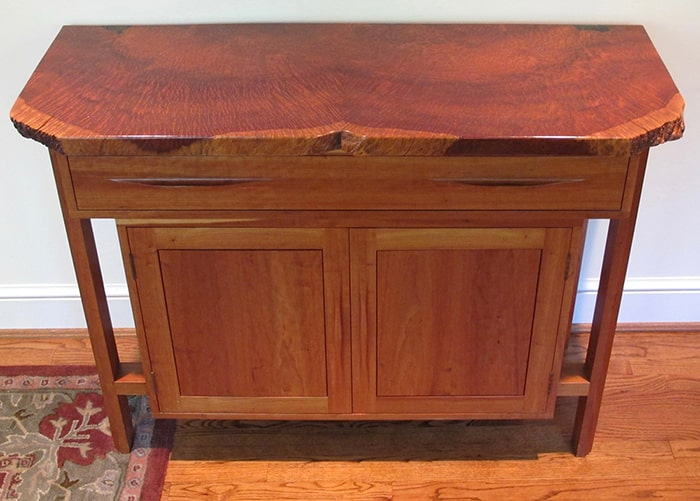 Cherry credenza with redwood burl top