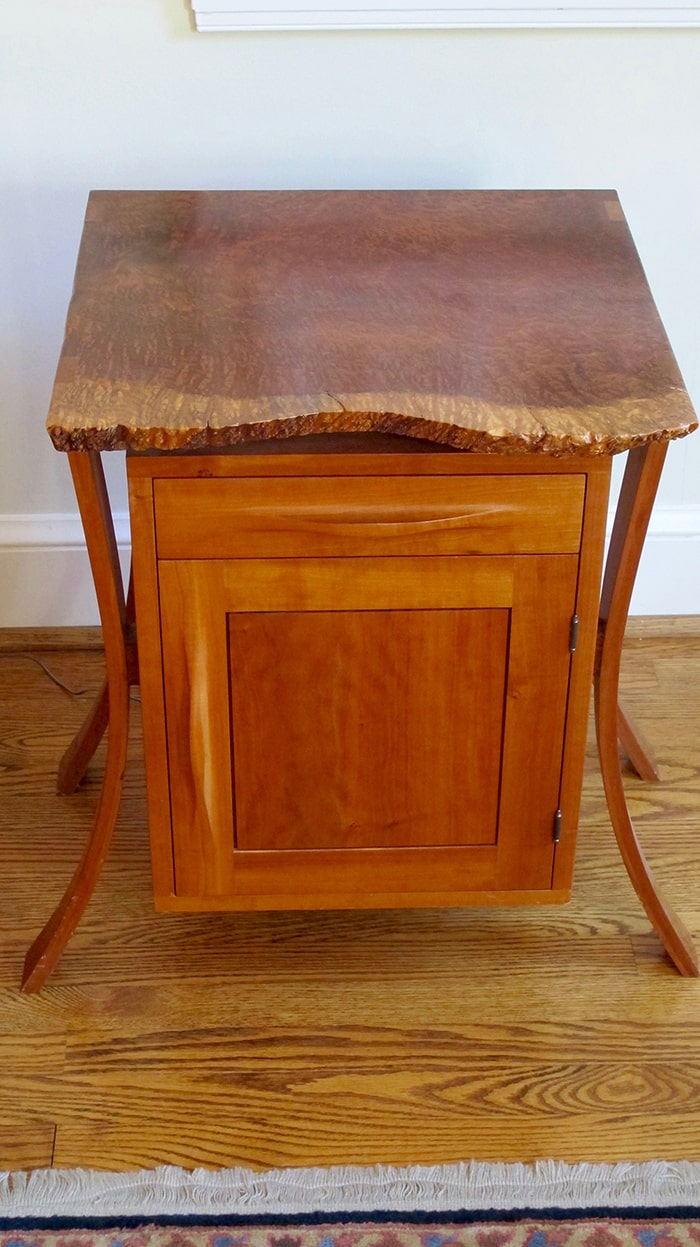 Cherry night stand with redwood burl top