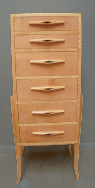 Tiger striped maple jewelery and lingerie chest